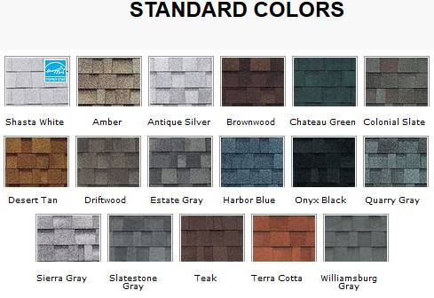 roof shingle colors diagram